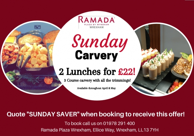 3 course Sunday Carvery ( Normally £27.90 for two people ) now £22 with Wrexham Savers.