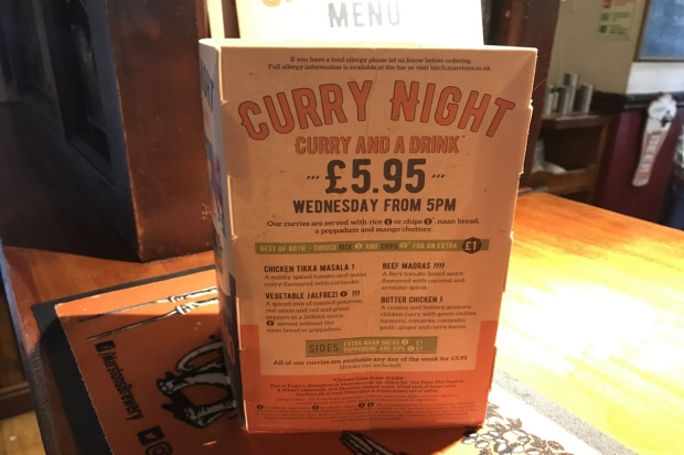Curry and a drink £5.95