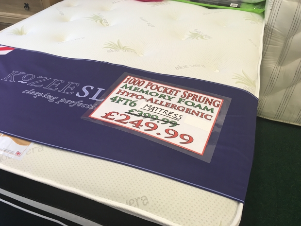 Huge discounts on quality mattresses.