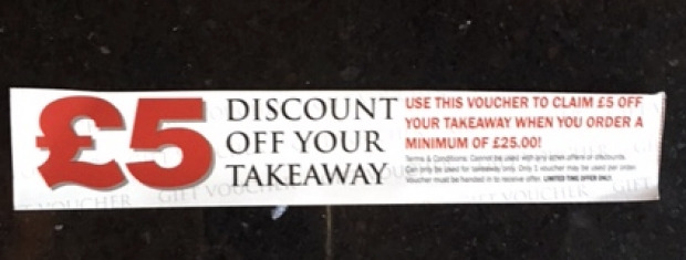 Takeaway offer saves  20% off dining in menu - plus £5.00 when you spend over £25.00